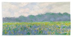 Field Of Yellow Irises At Giverny Beach Sheet by Claude Monet