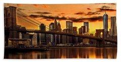 Fiery Sunset Over Manhattan  Beach Towel by Az Jackson