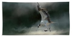 First Catch Of The Morning Osprey Art By Jai Johnson Beach Towel by Jai Johnson