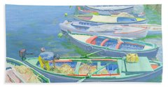 Fishing Boats Beach Towel by William Ireland