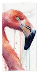 Flamingo Painting Watercolor - Facing Right Beach Towel by Olga Shvartsur
