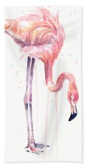 Flamingo Watercolor - Facing Left Beach Towel by Olga Shvartsur