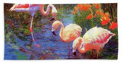 Flamingos, Tangerine Dream Beach Towel by Jane Small