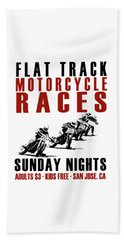Flat Track Motorcycle Races Beach Towel by Mark Rogan