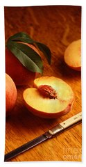 Flavorcrest Peaches Beach Towel by Photo Researchers