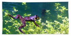 Floating Frog Beach Towel by Nick Gustafson
