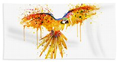 Flying Parrot Watercolor Beach Towel by Marian Voicu