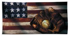 Folk Art American Flag And Baseball Mitt Beach Towel by Garry Gay