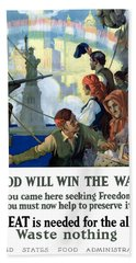 Food Will Win The War Beach Towel by War Is Hell Store