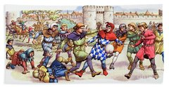 Football In The Middle Ages Beach Towel by Pat Nicolle