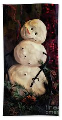 Forest Snowman Beach Towel by Lois Bryan