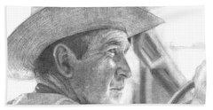 Former Pres. George W. Bush Wearing A Cowboy Hat Beach Towel by Michelle Flanagan