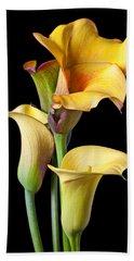 Four Calla Lilies Beach Towel by Garry Gay
