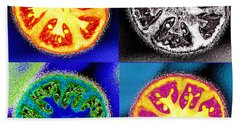 Four Tomatoes Beach Towel by Nancy Mueller