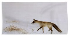 Fox In Snow Beach Towel by Jane Neville