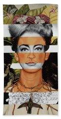 Frida Kahlo And Joan Crawford Beach Towel by Luigi Tarini