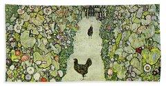 Garden With Chickens Beach Towel by Gustav Klimt