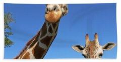 Giraffes Beach Sheet by Steven Sparks