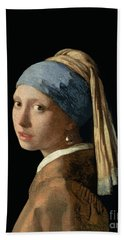 Girl With A Pearl Earring Beach Sheet by Jan Vermeer