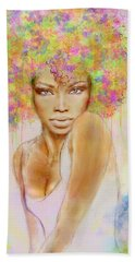 Girl With New Hair Style Beach Sheet by Lilia D