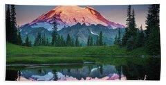 Glowing Peak - August Beach Towel by Inge Johnsson