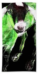 Goat Pop Art - Green - Sharon Cummings Beach Towel by Sharon Cummings