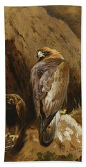 Golden Eagles At Their Eyrie Beach Sheet by Archibald Thorburn