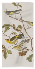 Golden Winged Warbler Or Cape May Warbler Beach Sheet by John James Audubon