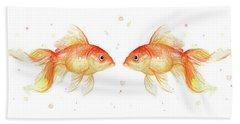 Goldfish Love Watercolor Beach Towel by Olga Shvartsur