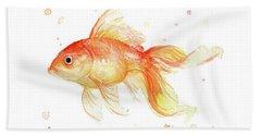 Goldfish Painting Watercolor Beach Towel by Olga Shvartsur