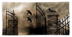 Gothic Surreal Fantasy Ravens Gated Fence  Beach Towel by Kathy Fornal