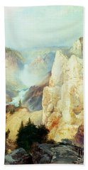 Grand Canyon Of The Yellowstone Park Beach Sheet by Thomas Moran