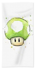Green 1up Mushroom Beach Towel by Olga Shvartsur