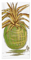 Green Gold Pineapple Painting Illustration Aroon Melane 2015 Collection By Madart Beach Towel by Megan Duncanson