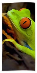 Green Tree Frog Beach Towel by Sharon Foster