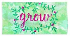 Grow Watercolor Beach Towel by Michelle Eshleman