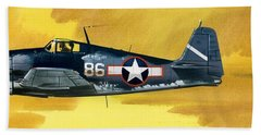 Grumman F6f-3 Hellcat Beach Towel by Wilf Hardy