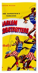 Harlem Globetrotters Vintage Program 32nd Season Beach Towel by Big 88 Artworks