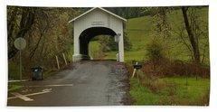 Harris Covered Bridge - Oregon Beach Towel by Adam Jewell
