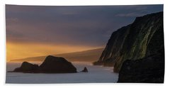 Hawaii Sunrise At The Pololu Valley Lookout Beach Towel by Larry Marshall