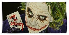 Heath Ledger The Joker Beach Towel by David Peninger