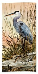 Heron Sunset Beach Towel by James Williamson