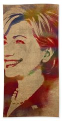 Hillary Rodham Clinton Watercolor Portrait Beach Sheet by Design Turnpike