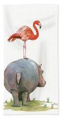 Hippo With Flamingo Beach Towel by Juan Bosco