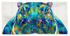 Hippopotamus Art - Happy Hippo - By Sharon Cummings Beach Sheet by Sharon Cummings