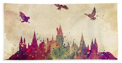 Hogwarts Castle Watercolor Art Print Beach Sheet by Svetla Tancheva