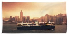 Hong Kong Harbour 01 Beach Towel by Pixel  Chimp