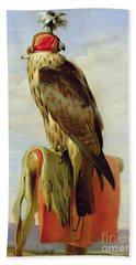 Hooded Falcon Beach Towel by Sir Edwin Landseer