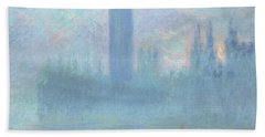 Houses Of Parliament  London Beach Towel by Claude Monet