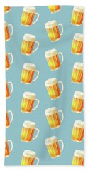 Ice Cold Beer Pattern Beach Towel by Little Bunny Sunshine